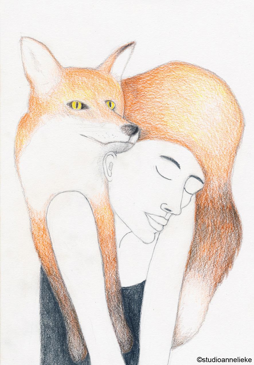 vrouw met vos