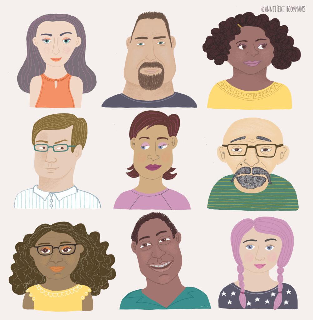 portretten van verschillende type mensen, Redactionele illustratie illustratie Studio Annelieke