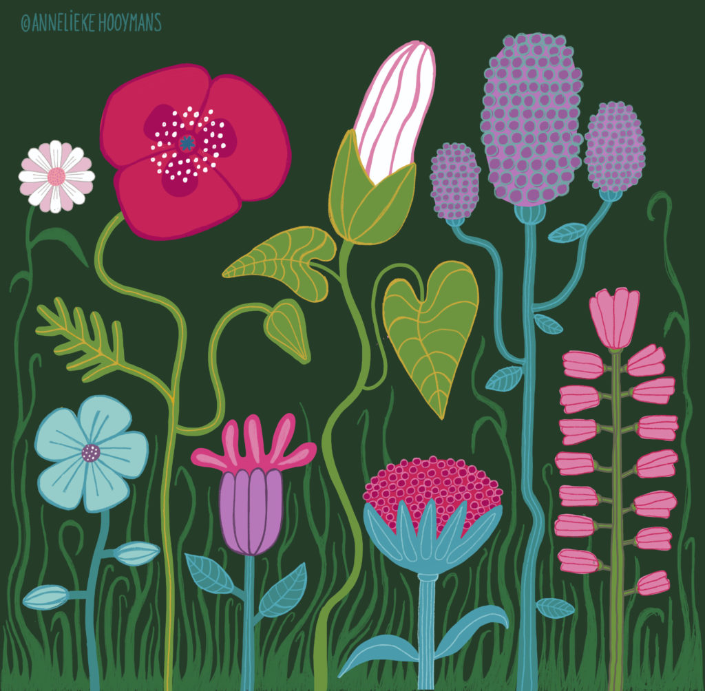 Planten bij nacht, Illustratie Studio Annelieke