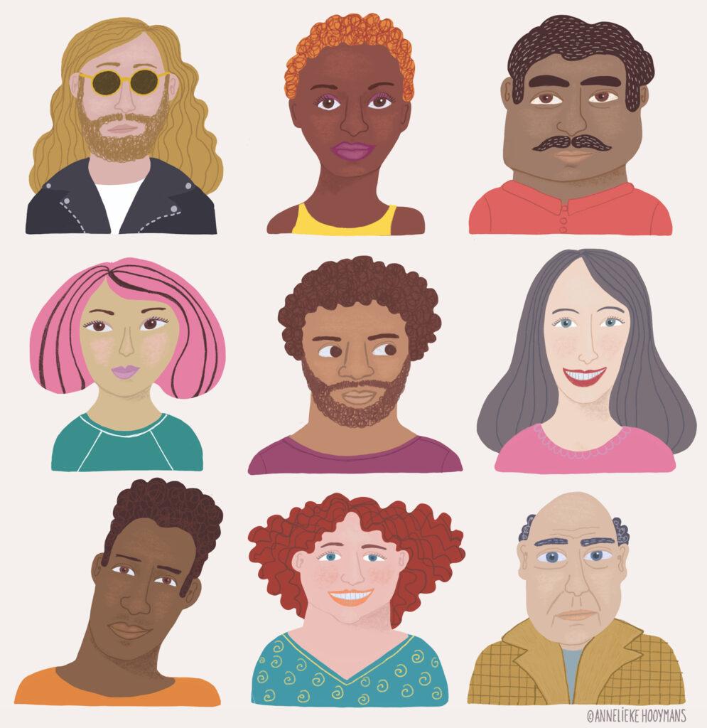 portretten van verschillende types mensen, Redactionele illustratie illustratie Studio Annelieke