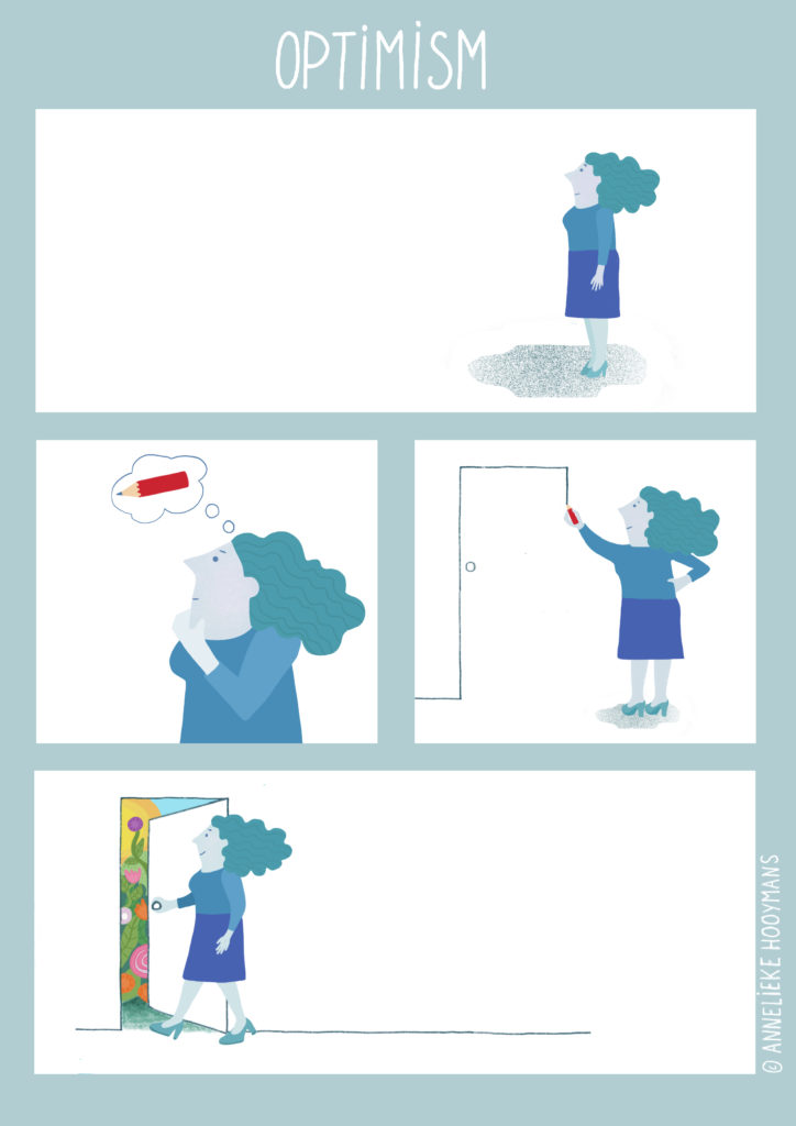 Conceptuele strip met als thema: Optimisme