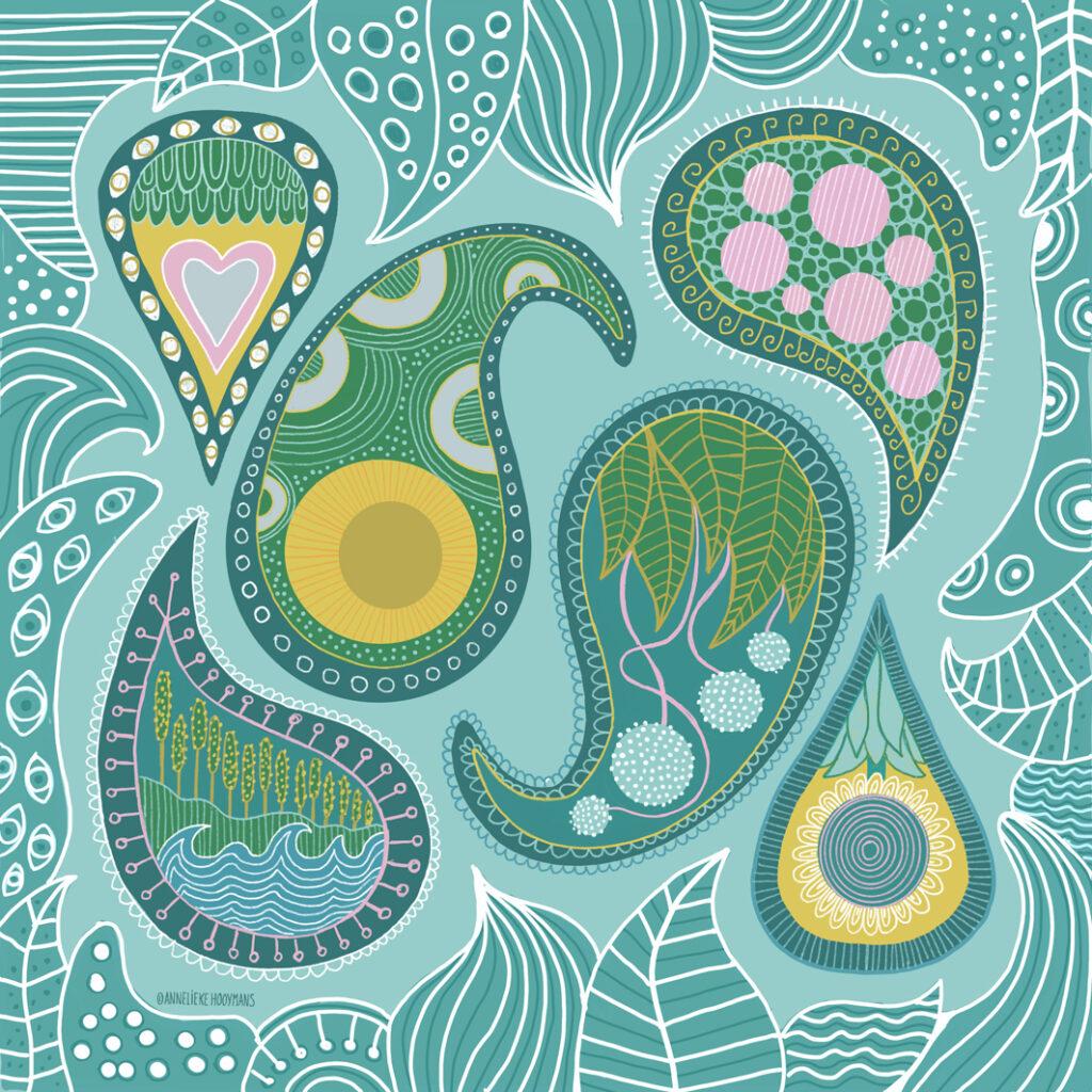 Paisley patroon, Illustratie Studio Annelieke
