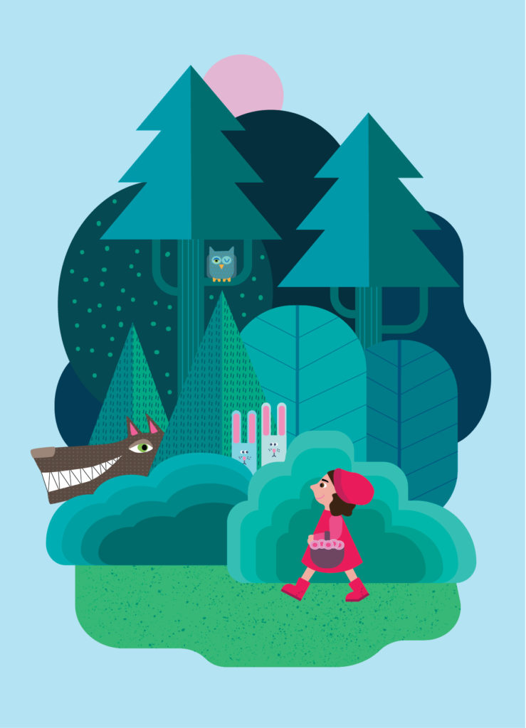 Little red riding hood, vector illustration