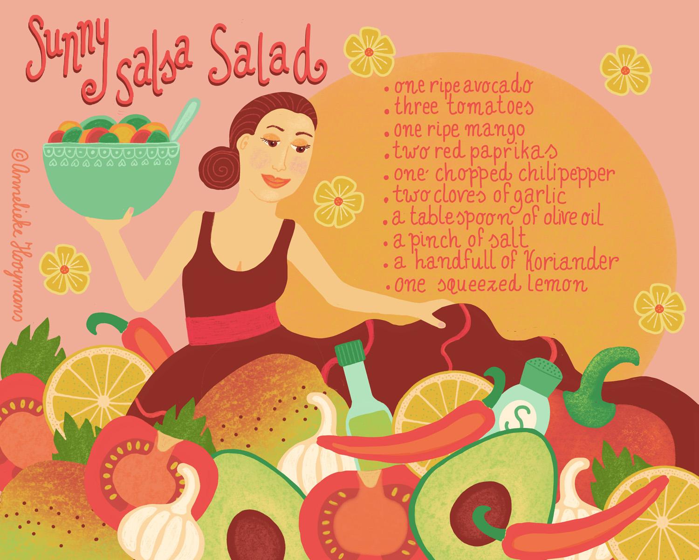 Sunny Salsa Salad, geïllustreerd recept, Studio Annelieke